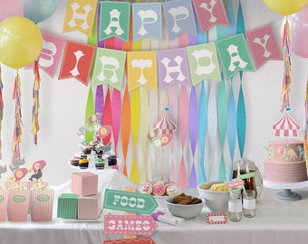 Pastel Circus Party Theme // Party Kit // Downloadable + Printable
