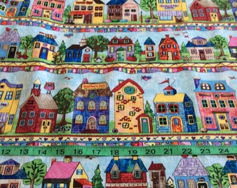 Timeless Treasure Row by Row 2016 fabric  houses, cafe, shops by the half yard