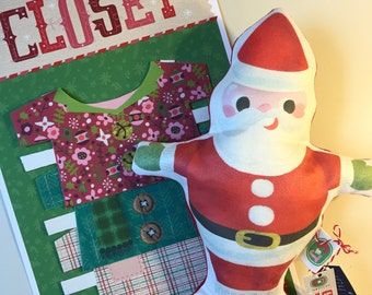 Retro Santa Plush Doll with clothes