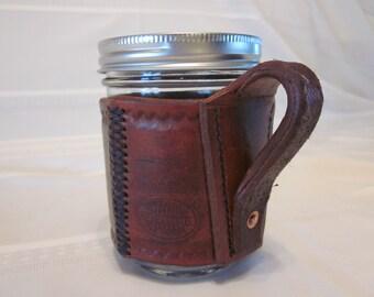 Leather,Mason Jar, Ball Jar, Holder