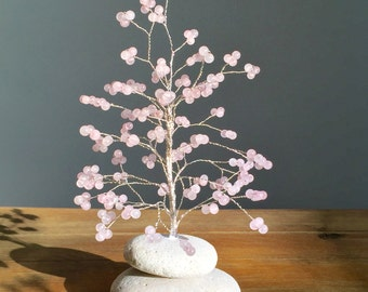 Rose Quartz Tree of Life, Tree Sculpture, Wired Tree of Life