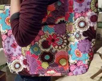 Quilted floral tote large