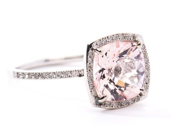 Cushion Cut 2.7 carat Morganite Diamond Halo Ring