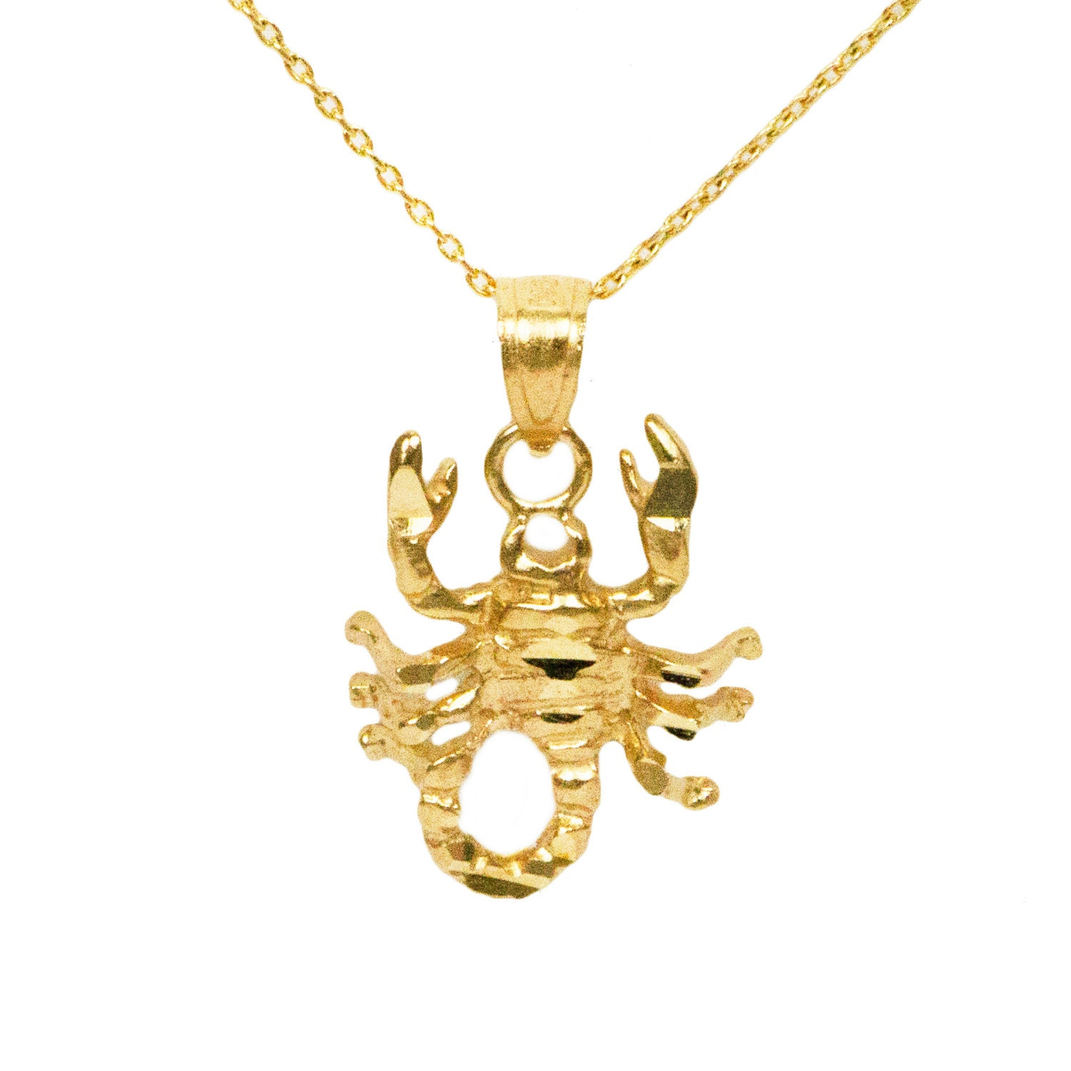 10k yellow gold scorpion necklace