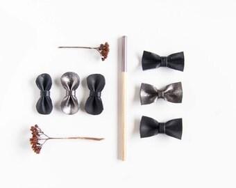 Black Hair Accessories Mini Leather Hair Bow Crocodile Clip or Nylon Headband,Soft Black, Black Ostrich & Gunmetal Shimmer Baby/Adult Bow,