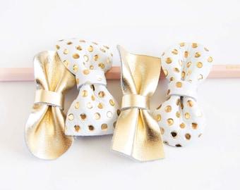Soft Mini Leather Hair Bow Crocodile Clip or Nylon Headband,Metallic Gold & Gold Polka Dots on White Baby/Adult Bow, Gold Hair Accessory,