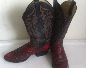 Red and black men's cowboy boots, made from real snake leather, embroidered, vintage style, western, men's size 8 1/2.