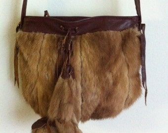 New crossbody handbag, from real mink fur and leather, has long leather belt, brown color, size - small