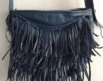 Real handmade crossbody bag from soft leather with elements of fashionable leather fringe new women's deep blue color bag size - small.