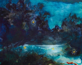 Chasing Fireflies - Original Watercolor and Ink Painting