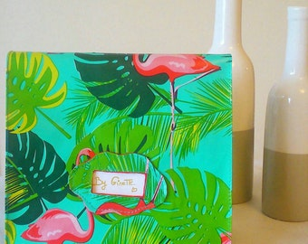 Lunch bag. bag to taste. bag for snack. tropical design and pink Flamingo. hand-stitched
