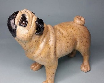 Original Art Handmade Ceramic Fawn Pug Dog - one of a kind - unique - dog art - dog sculpture - dog ornament - dog figurine - stoneware