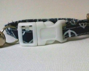 Navy Blue Anchor cat collar
