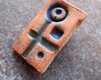 Ceramic brooch, rust and blue brooch, rustic brooch