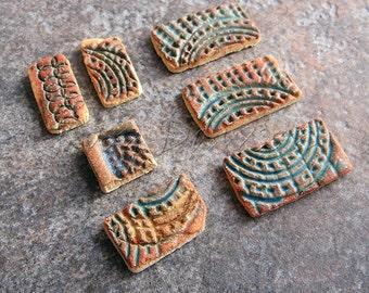 Ceramic mosaic tiles, brown mosaic tiles, green mosaic tiles, pink mosaic tiles, ceramic jewellery components, mosaic supplies