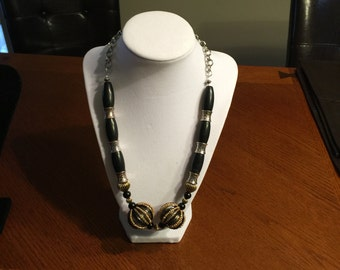 Black with Gold & Silver Accents Necklace only