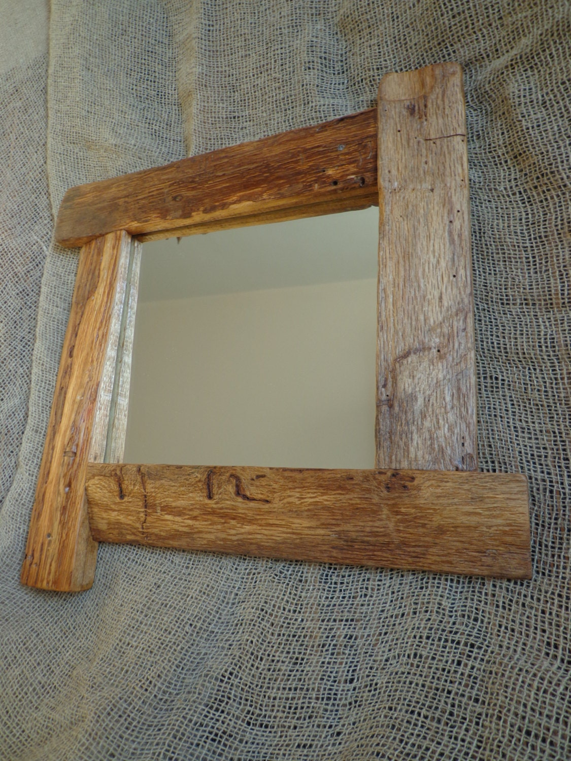 Wooden rustic mirror wall mirror wooden home decor for Rustic mirror