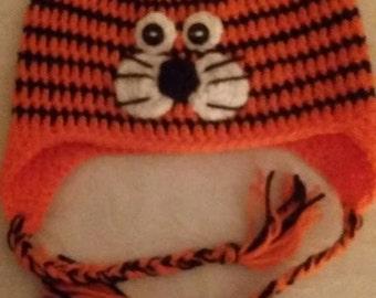 Crochet Tiger Flap Eared Hat . 3-4yrs old