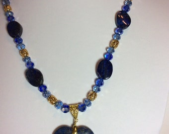 Blue Lapis Agate Heart Pendant Necklace with Earrings
