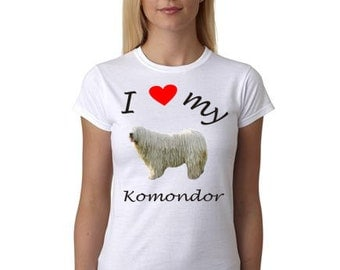 Komondor shirt - Picture of Komondor on shirt - I heart my Komondor