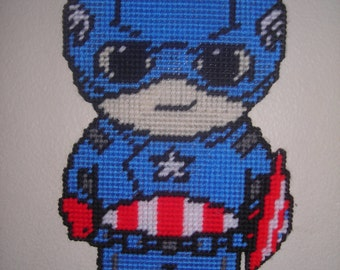 Lil Superhero Captain America Wall hanging handcrafted plastic canvas
