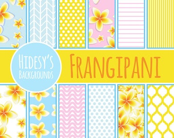 "Bright Tropical Digital Paper / Background / Pattern ""FRANGIPANI"""