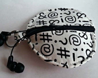 Punctuation Earbuds Holder - Texting Symbols Coin Purse - Zippered Pouch - OOAK - Custom Made