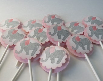 """Cupcake Toppers """"Pink Elephant"""" (12)"""