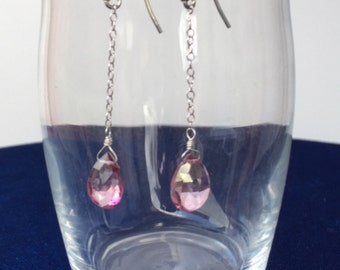 Pink topaz briolette drop earrings on sterling silver chain and ear wires