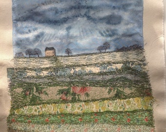 Original Mixed Media Textile Art 'The Drover's Cottage'