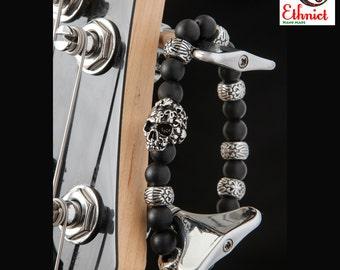 mens onyx bracelet, onyx bracelets, skull bracelet, skull, matte onyx bracelet, mens bracelet, onyx gemstone, onyx, men's bracelet, bracelet