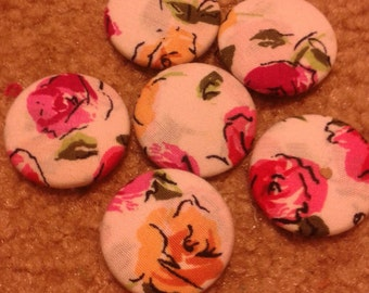 Fabric Rose Buttons (6 pieces)