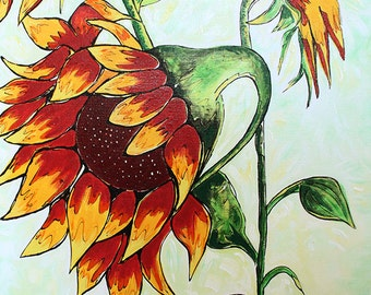 3 Sunflowers: a vibrant, large painting of three sunflowers in yellows, reds and greens