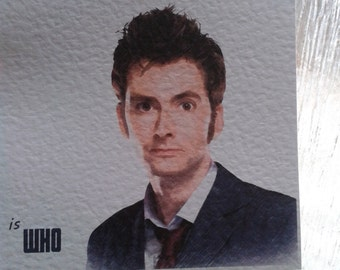 Handmade Doctor Who Christmas Card 10th Doctor David Tennant. Can personalise.