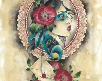 A3 print: Vintage neo traditional tattoo style gypsy girl with dagger, bird and envelope
