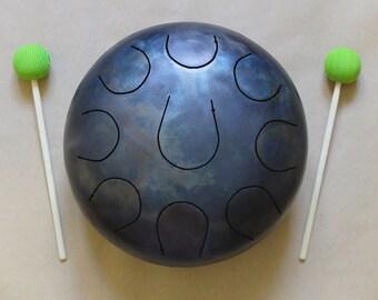 CampaNa handmade 9 tongue drum,1,5mm steel, 22cm diameter, handpan, tank drum, percussion,