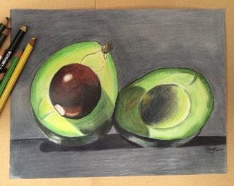 Avocado Drawing Etsy