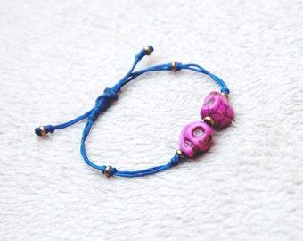 skull bracelet girl bracelet women bracelet blue bracelet adjustable skull bracelet