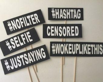 6-pack Social Media Hashtags Wedding / Party Photo Booth Props
