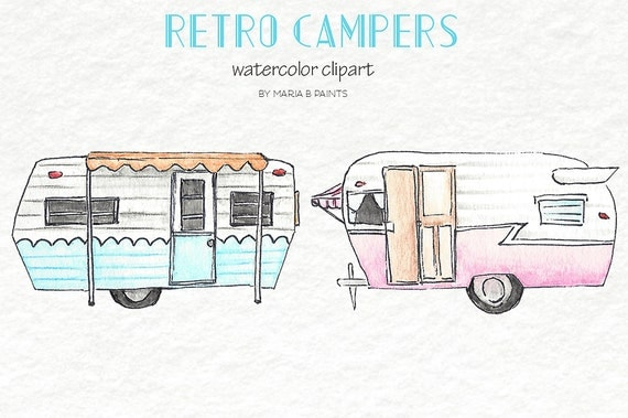 Watercolor Clip Art Retro Campers RV Recreational Vehicle