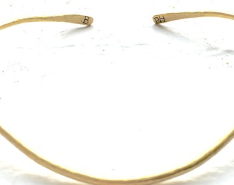 Hammered brass choker, 11""