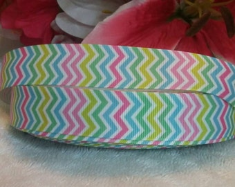"3 yards, 7/8"" multi colored chevron print design grosgrain ribbon"