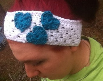 White headband with teal hearts