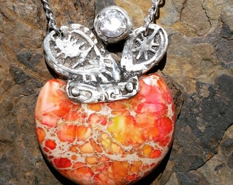 Summer Fruit Pendant Necklace / one of a kind / fine silver and semi precious stone/mineral