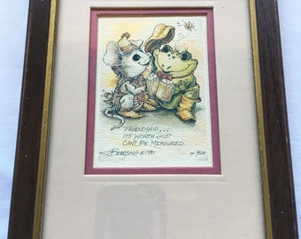 Friendship... It's worth just Can't be Measured Mouse and Frog Matted and Framed Limited Edition Lithograph by Jody Bergsma
