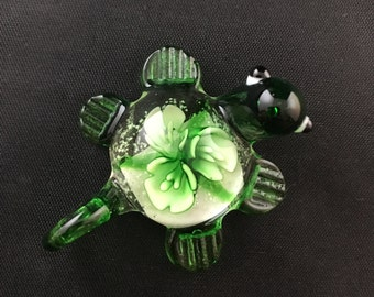 Cute Glass Turtle Pendant in Green, With Flowers in the Shell