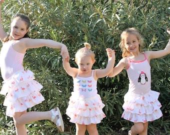 Little girl, skirt shirred ruffle flamingos pink skirt with Ruffles