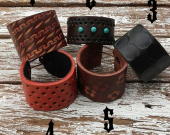 Hand Tooled and Dyed Leather Cuff Bracelets