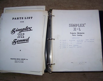 Vintage Simplex Movie Projector Parts Book Catalog