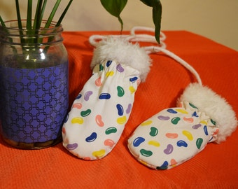 Vintage Corded Toddler Jelly Bean Mittens